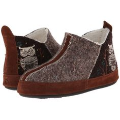 Acorn Forest Bootie (Chocolate Owl) Women's Slippers ($65) ❤ liked on Polyvore featuring shoes and slippers