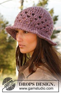 Free knitting patterns and crochet patterns by DROPS Design Crochet Newsboy Hat, Crochet Hat With Brim, Crochet Summer Hats, Bonnet Crochet, Crochet Cap, Crochet Shawl, Free Crochet, Free Knitting, Finger Knitting