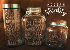 Dog Treat Jars- Etched Glass Containers for Pet Treats- 3 Available Now or Request a Custom Design!