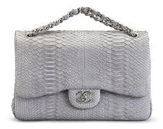 A GRAY PYTHON JUMBO DOUBLE FLAP BAG Christie's Handbag Shop