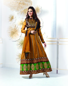 Extra long Indian #AnarkaliDress in brocade brown shaded broad embroidery designs at designersaree.us