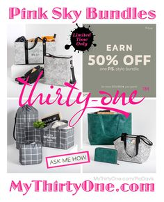 #31 Pink Sky Bundles - While supplies last @ MyThirtyOne.com/PiaDavis Look for the Boutique Crossbody, Picnic Thermal Cooler, All About The Benjamins Wallet, Move It All Bag, Lunch Break Thermal, Weekender, Cindy Tote, Window Shopper... Check out the great #Customer #REWARDS... 50% OFF ANY regular-priced item for every $50 you spend #Save on Utility #Totes Crossbody & Shoulder #Wallets #Pouches #Backpacks #LunchBags #Pillows #MangoWood #Bags #MyThirtyOne #ThirtyOneGifts #ThirtyOne #PiaDavis…