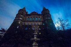 Książ Castle by night