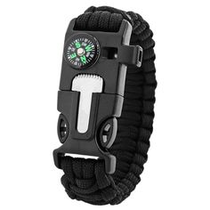 5 in 1 Outdoor Survival Gear Escape Paracord Bracelet Flint / Whistle / Compass / Scraper (Black) *** This is an Amazon Affiliate link. Click image for more details.