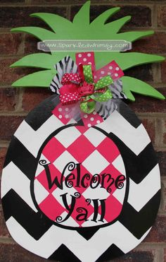 This personalized, hand-painted, wooden, Pineapple welcomes everyone to your door with a little pizzazz!   Ideas for Display:  * Front Door/Back Door * Over Garage * Porch/Deck * Party Decoration * Kitchen * Birthday Gift * Hostess Gift  Chevron Pineapple Door Hanger Sign by SparkledWhimsy on Etsy, $35.00
