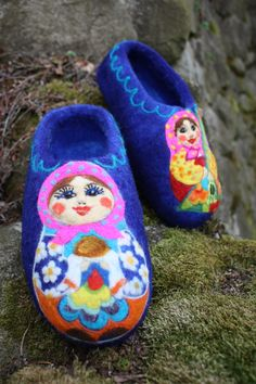 Felted Slippers- Matreshki...I need to research where to get these slippers.  I know they would keep my toes nice and toasty....and be too cute, too!