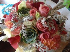Garden roses and succulents