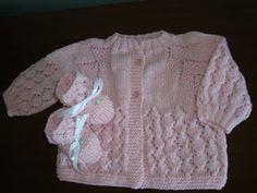 Moda Bebê : Casaquinho Pala Pinheirinho Rosa - Tricô