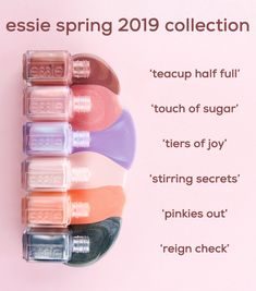 six new nail polish shades from the essie spring 2019 collection. from top to bo. - six new nail polish shades from the essie spring 2019 collection. from top to bottom: 'teacup hal - Essie Nail Polish Colors, Cute Nail Polish, Nail Polish Designs, Nail Polish Color Names, Great Nails, Cute Nails, 3d Nail Art, Manicure And Pedicure, Pedicure Ideas