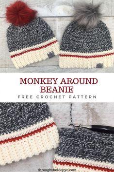 Crochet Adult Hat, Easy Crochet Hat, Crochet Winter Hats, Crochet Beanie Pattern, Crochet For Boys, Easy Crochet Patterns, Knit Or Crochet, Cute Crochet, Crochet Crafts