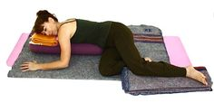 Relaxing Bolster Twist 1 1 x bolster. 2 x blankets -- 1 for lying on and 1 for supporting the top leg. 1 x towel -- for supporting the head. Restorative Yoga Poses, Yoga Bolster, Yoga For All, Yoga Props, Spiritual Meditation, Yin Yoga, Best Yoga, Alternative Medicine, Yoga Inspiration
