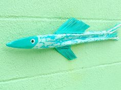Turquoise Fish Art On Florida Palm Frond