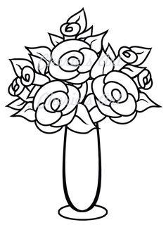 Line Art Flower Vase Digi Stamp By CheriesArtsnCrafts Simple Flowers In A