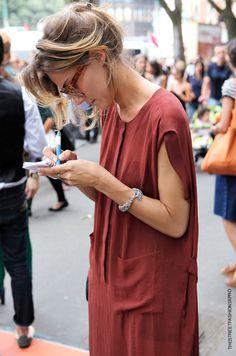 Rusty silk dress