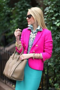 bright: pink blazer, aquamarine skirt, chambray blouse, neutral bag, white bubble necklace