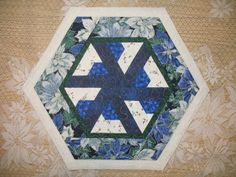 Table Topper    Blue Poinsettia  Reversible    126 by QuiltinWaYnE, $19.50