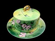 Antique-J-P-L-France-Hand-Painted-Porcelain-Cheese-Dome-Dish-Liner-Roses