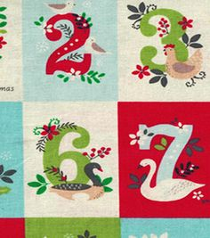 """Joann Item # 14471486 Holiday Inspirations™ Christmas Fabric-12 Days Of Christmas 43"""" wide, 100% cotton"""