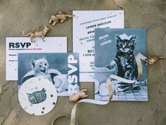 This whimsical cat-themed wedding featured all things cat related, including cat themed invitations!
