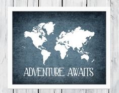 World Map Print - Nursery Wall Decor - Custom Colors on Etsy, $6.00