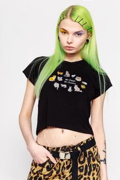 MY PUSSY MY CHOICE EMBROIDERED CROP TEE || SHOP HERE: https://www.goodbyebread.com/collections/o-mighty/products/my-pussy-my-choice-embroidered-crop-tee #goodbyebread #omighty #lookbook #photoshoot #crop #tee #tshirt #black #pussy #choice #embroidered #green #hair #90s #white #fishnet #belt #animalprint #tattoo #girl