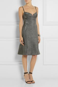 CALVIN KLEIN COLLECTION Banka Metallic Crepe Dress -   True to the label's minimalist aesthetic, Calvin Klein Collection's gunmetal crepe dress is cut to keep the fabric in focus. Fully lined in stretch-silk, this style has supportive molded cups and a flattering flared hem.