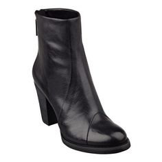 """Our Charnel round toe leather booties can get along with virtually anything in your wardrobe. That's how versatile these booties are. Back zip for easy on/off. Padded footbed for all-day comfort. Leather upper. Man-made lining and sole. Imported. 3 1/4"""" high heels."""