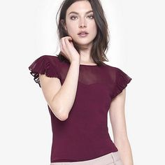 Express Berry Tee Shirt Pleated Flutter Sleeve Fitted Tee in color Berry. Wore once. Express Tops Tees - Short Sleeve