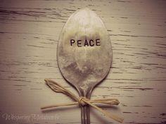 PEACE silver plated spoon - garden pick - garden marker - vintage - antique