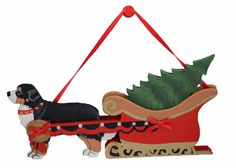 "This Holiday Sleigh ornament is absolutely charming. Sleigh holds a pine tree. Hand painted, original wooden cut-out with red ribbon and two bows. Your Berner will feel like the ""big daddy"" of the hol"
