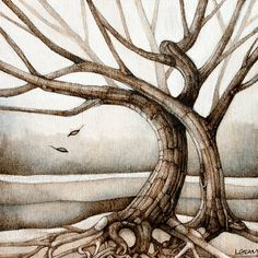 tree art woodburning neutral woodland tree of life landscape print on Etsy, $20.00