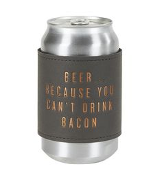 LEATHERETTE COOZIE by C. Gibson Leatherette with neoprene interior. W x 3 H (flat). Beverages, Drinks, Drink Sleeves, Card Stock, Bacon, Cocktails, Beer, Canning, Bottle