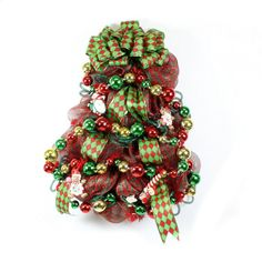 Christmas Tree Wreath  - Deco Mesh Wreath - Floral Decor Door Wreath