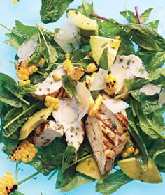 Grilled chicken and corn salad with avocado and parmesan - I've made this 3 times now and it's become a once a week recipe. It is the best salad ever.