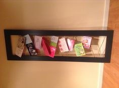 Repurposed mirror frame (mirror broke) rope stapled to back to hold display greeting cards and with clothes pins perhaps children's art work! Crafts To Sell, Diy Crafts, Diy Projects, House Projects, Christmas Card Holders, Craft Fairs, Art Work, Repurposed, Card Displays