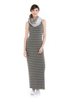 Robe maxi rayée 100 % fabriquée au Canada - Striped maxi dress 100% made in Canada