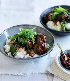 The meatballs are roasted in a hot oven to save time, then served with Asian greens and steamed rice for a quick meal.