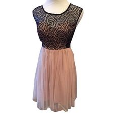 Mystic Dress- pretty & edgy ! Champagne color Fit and flare, lacey top with pink tulle at bottom. Adorable and edgy all at once. (Brand new!) Mystic Dresses Midi
