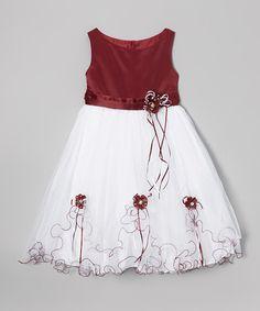 LA Sun Burgundy & White Flower Fluff Dress - Infant, Toddler & Girls | zulily