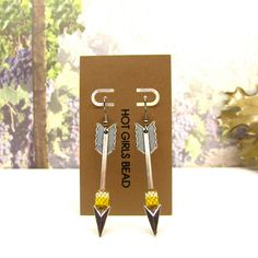 Handmade Silver Arrow Yellow Peyote Earrings Jewelry by SeedDreams, $20.00