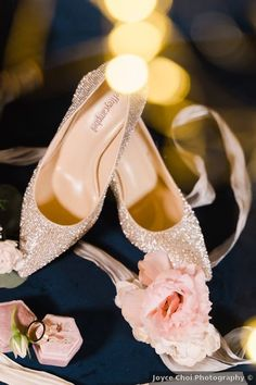 Wedding shoes ideas - heels, glitter, rhinestone, rose gold, close tie, winter {Joyce Choi Photography}