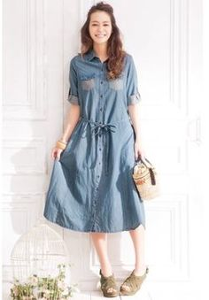 Demin long dress / ShopStyle: Nan-Haitu ワンピース(デニムロングワンピース 大きいサイズ