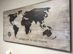 Nursery Decor Idea, Wood Wall Art, World Map, Wooden Map, Rustic, Adventure is…