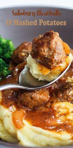 Salisbury Meatballs and Mashed Potatoes