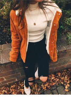 Perfect autumn outfit with a beautiful lambskin jacket. Visit Daily Dress Me at . - mode jacken Perfect autumn outfit with a beautiful lambskin jacket. Visit Daily Dress Me at . Lambskin Jacket, Shearling Jacket, Mode Outfits, Trendy Outfits, Fashion Outfits, Fashion 2018, School Fashion, Women's Fashion, Fashion Women