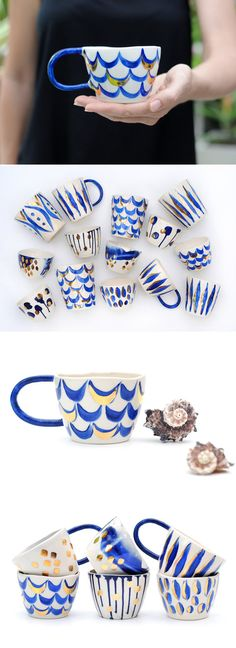 MERMAID CUP - Hand Painted Stoneware - Blue & Gold Lustre Scales | LiquoriceMoonStudios