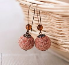 Felt Earrings in Autumn Colors by PaciorkyArtStudio