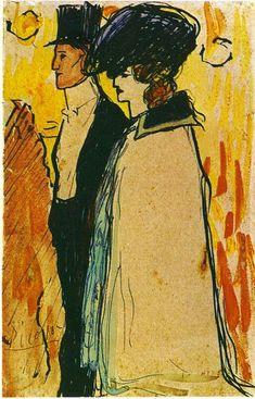 Pablo Picasso — Couple walking, 1901, Pablo PicassoSize: 18x11.5...