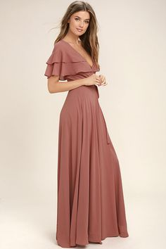 Lulus Exclusive! The birds will sing your praises when you glide by in the Wonderful Day Rusty Rose Wrap Maxi Dress! Sheer Georgette forms ruffled short sleeves, wrapping bodice (with snap button), and tying sash belt. Wrapping detail carries into a front slit on the full maxi skirt.