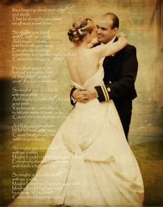 Wedding photo on canvas with lyrics to the first dance